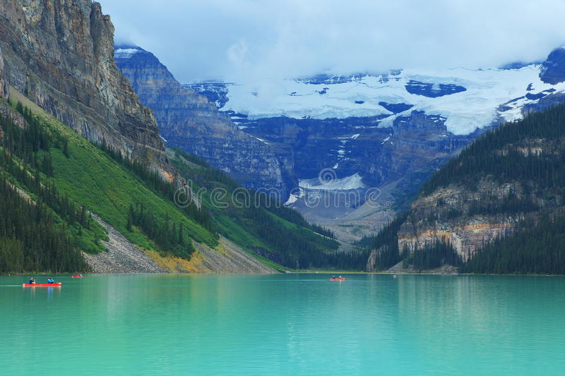 Lake Louise. Banff National Park, Alberta, Canada, is named after Princess Louise Caroline Alberta (1848-1939), the fourth daughter of Queen Victoria. The icy royalty free stock images