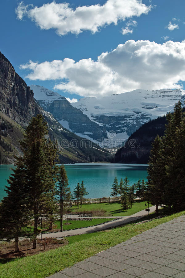 Lake Louise, Banff National Park, Alberta, Canada. Lake Louise, viewed from the Chateau Lake Louise patio. Lake Louise is just off the Icefields Parkway, Banff royalty free stock photo