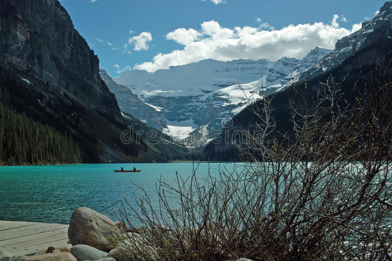 Lake Louise, Banff National Park, Alberta, Canada. Lake Louise, viewed from the Chateau Lake Louise waterfront. Lake Louise is just off the Icefields Parkway royalty free stock image
