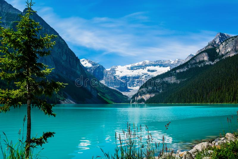 Lake Louise in Banff National Park. Beautiful Lake Louise in Alberta, Canada on a nice sunny day stock images
