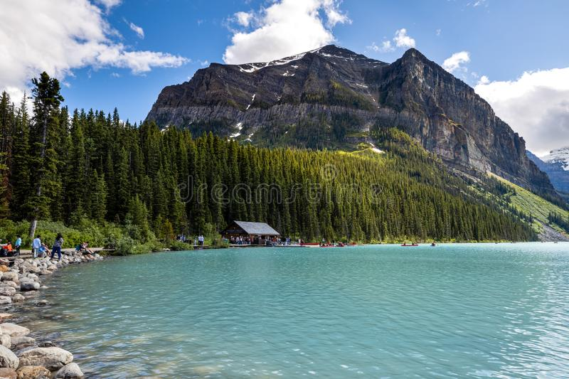Lake Louise at Banff National Park of Canada. The Lake Louise at Banff National Park of Canada stock images