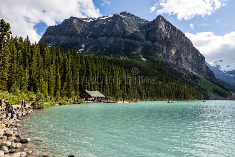 Lake Louise at Banff National Park of Canada. The Lake Louise at Banff National Park of Canada stock photos