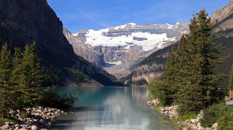 Lake Louise. In the Banff National Park in Canada royalty free stock images