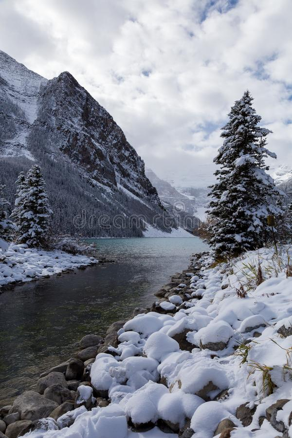 Lake Louise in Banff National Park, Canada. View of Lake Louise in Banff National Park, Canada royalty free stock photos