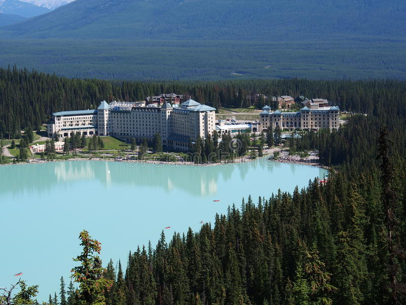 Lake Louise at Banff National Park. Canada during a warm summer day royalty free stock photo