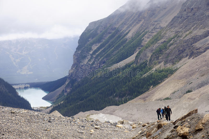LAKE LOUISE, CANADA - SEPTEMBER 6, 2016: The trail to the Plain. Of Six Glaciers from Lake Louis on 6 September 2016 in Lake Louise, Canada. It is one of the royalty free stock photography