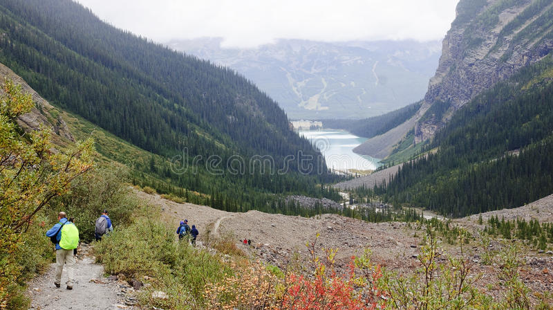 LAKE LOUISE, CANADA - SEPTEMBER 6, 2016: The trail to the Plain. Of Six Glaciers from Lake Louis on 6 September 2016 in Lake Louise, Canada. It is one of the royalty free stock photos