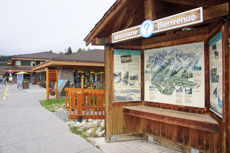 LAKE LOUISE, CANADA - SEPTEMBER 4, 2016: The village center with. Visitor center on 4 September 2016 in Lake Louise, Canada. In the center of the village is the stock images