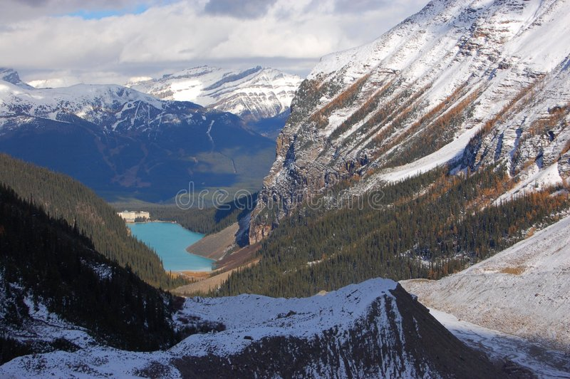Lake Louise and Canadian Rockies. Scenic picture of Lake Louise. Visible is also famous hotel Chateau Lake Louise. Lake Louise, Banff, Alberta, Canada royalty free stock image