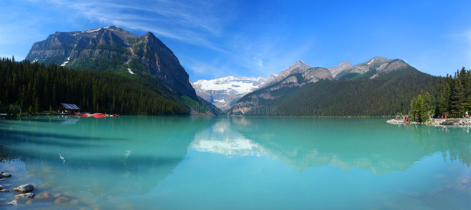 Lake Louise in the Canadian Rockies. Lake Louise in Banff National Park stock photography
