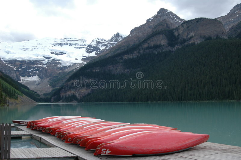 Lake Louise Canoe Dock. Banff National Park, Canada stock photos