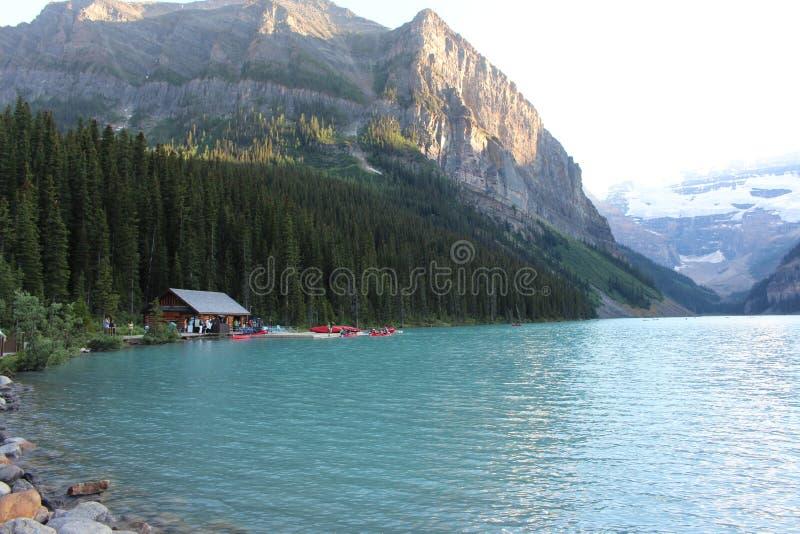Lake Louise. Canoeing and Kayaking Lake louise stock image
