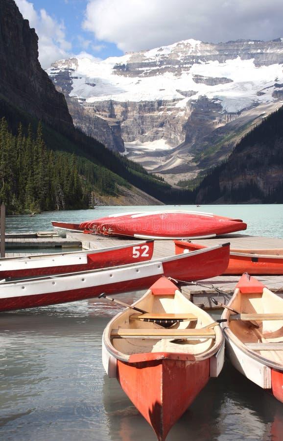 Lake Louise canoes il Canada fotografia stock libera da diritti