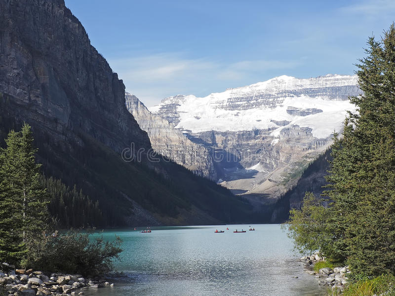 Lake Louise with Canoes. An image of Lake Louise in the Canadian Rockies stock images