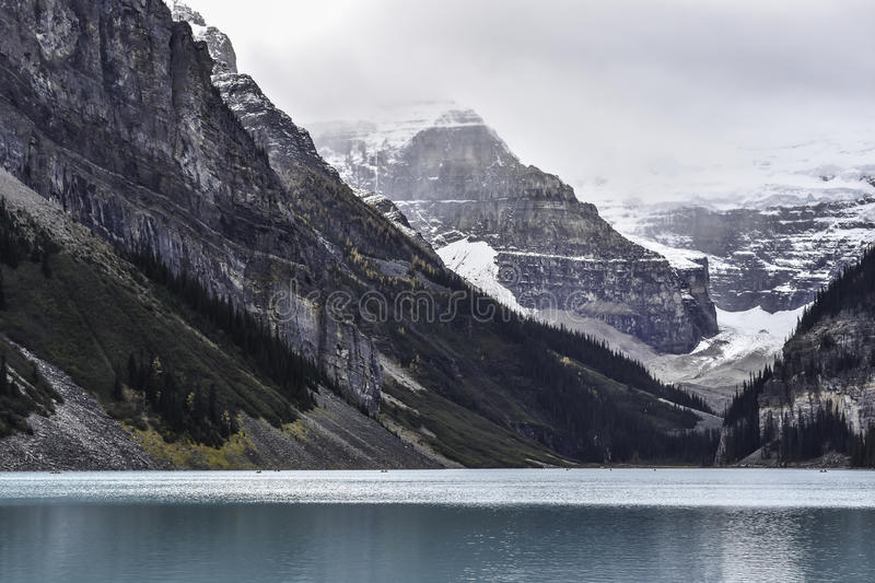 Lake Louise. A classic photograph of the blue Lake Louise and the mountain backdrop royalty free stock photos