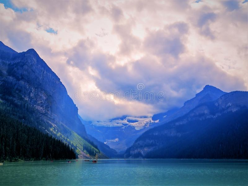 Lake Louise. On a cloudy overcast day stock photo