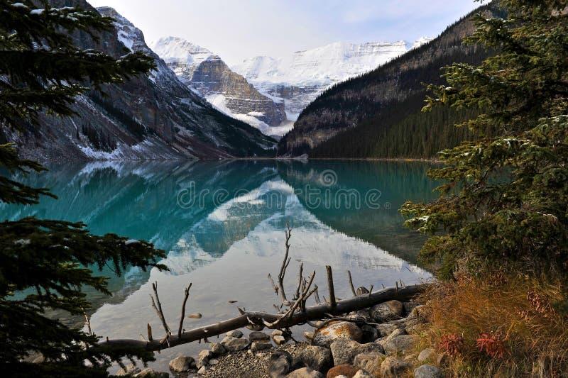 Lake Louise at dawn stock photo