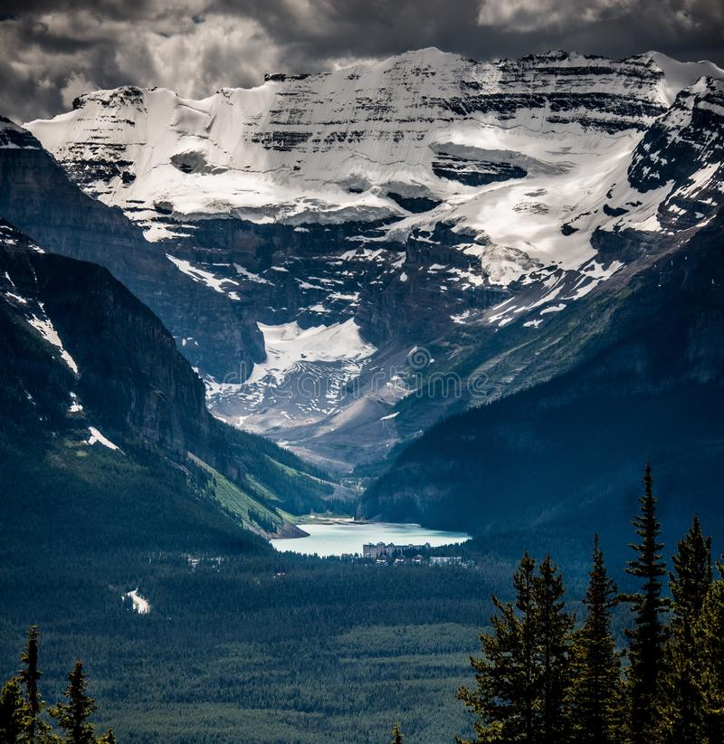 Lake Louise. On the top of white horn mountain, looking at lake louise royalty free stock photography
