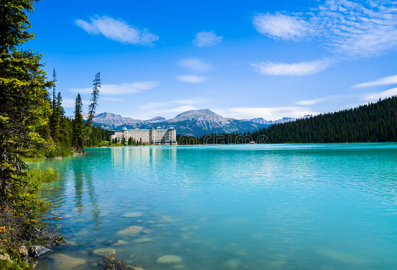 Lake Louise. And Fairmont Chateau Hotel, Canada stock image
