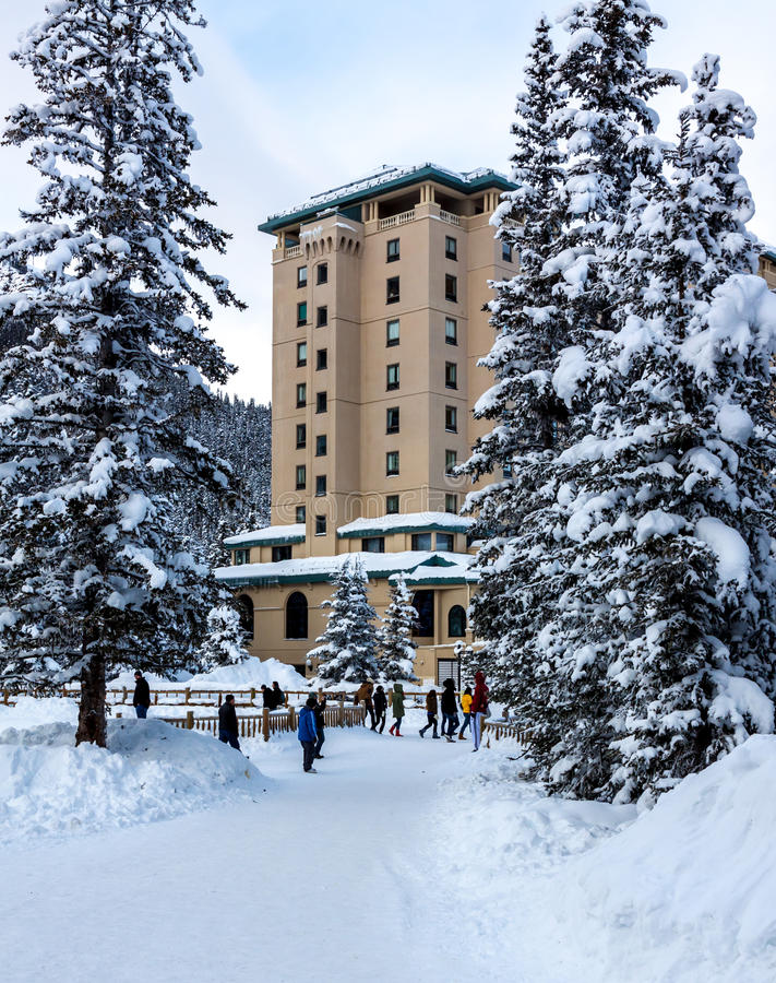 Lake Louise hotel fairmont stock images