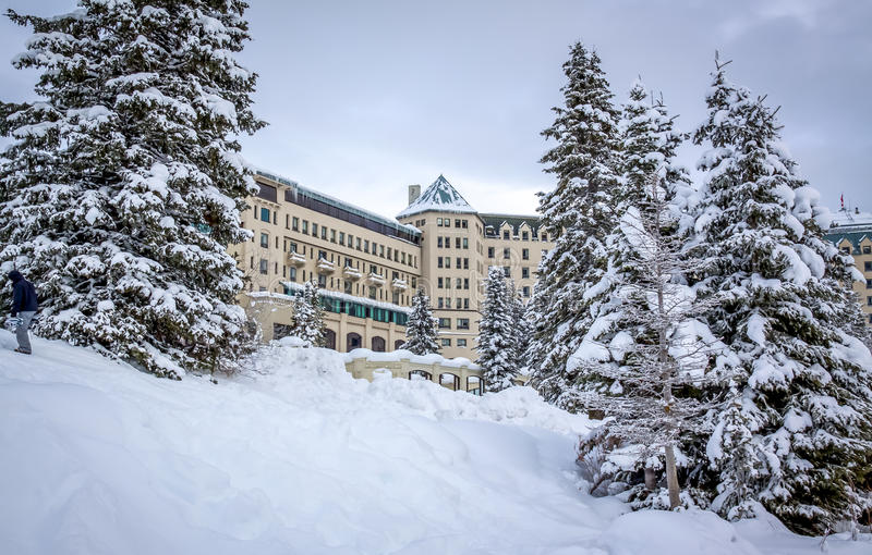 Lake Louise hotel stock photo