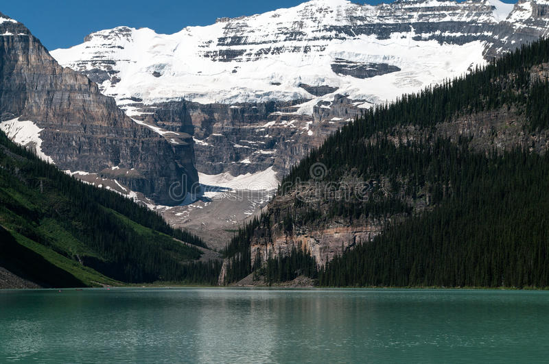 Lake Louise. With the mountains in the background royalty free stock image