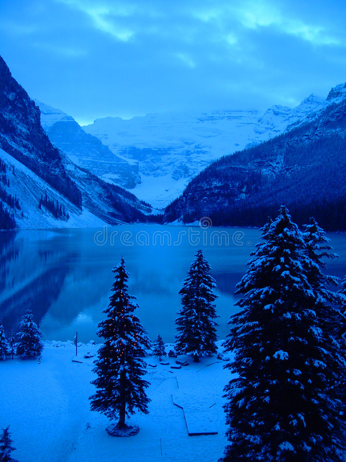Lake Louise a natale immagini stock