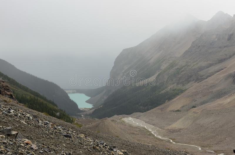 Lake Louise out of the valley 2. Lake Louise out of the valley from the Alberta BC border stock image