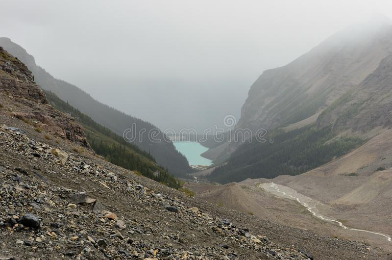 Lake Louise out of the valley 1. Lake Louise out of the valley from the Alberta BC border royalty free stock photos
