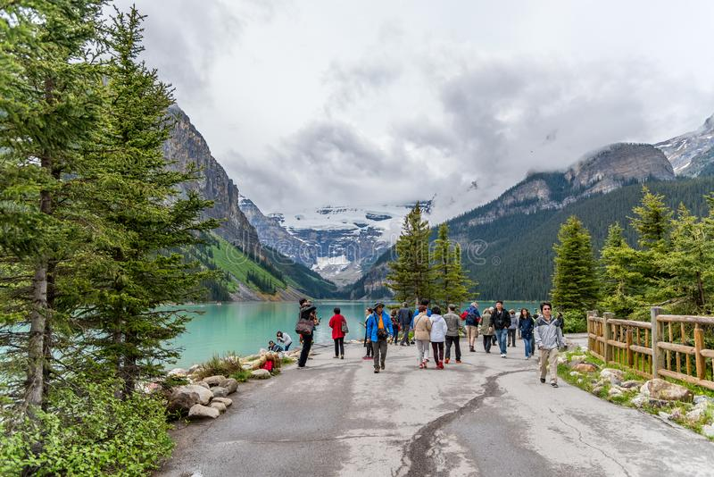 Lake Louise pristine environment is a must see for tourists. stock photo
