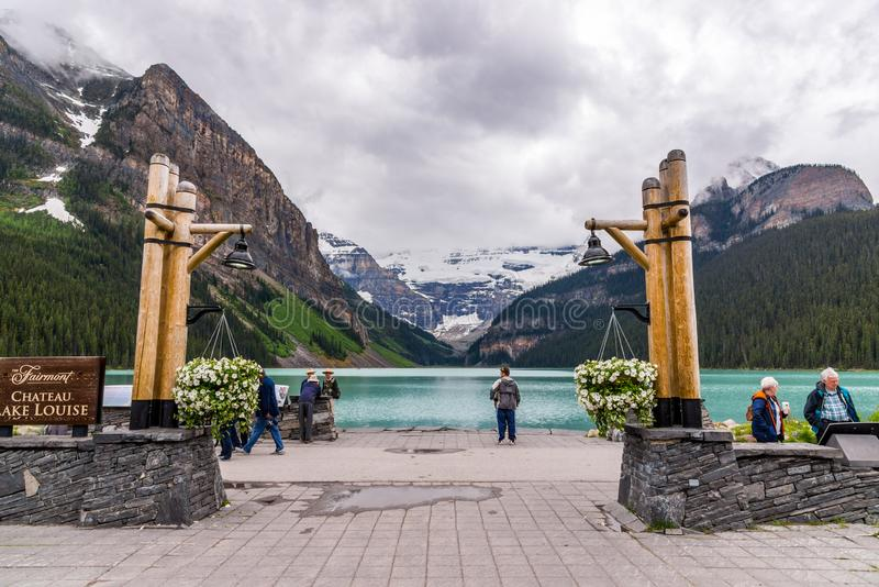 Lake Louise pristine environment is a must see for tourists. stock images