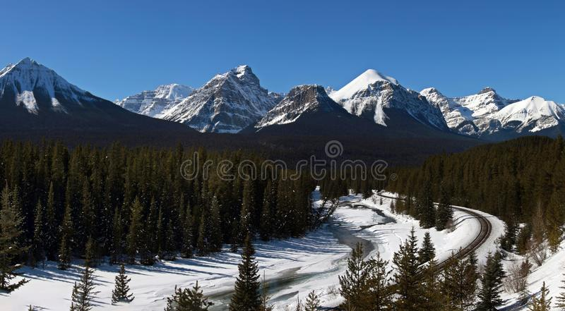 Lake Louise Rocky Mountains. Train Tracks Morants Curve Canada royalty free stock photography