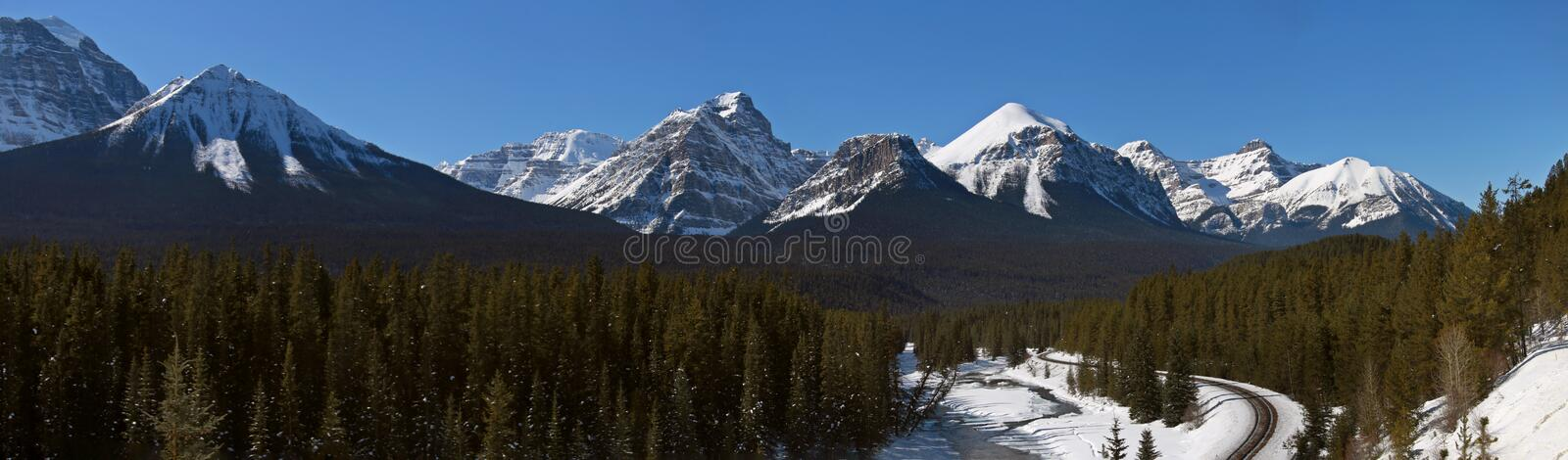Lake Louise Rocky Mountains. Train Tracks Morants Curve Canada royalty free stock photo