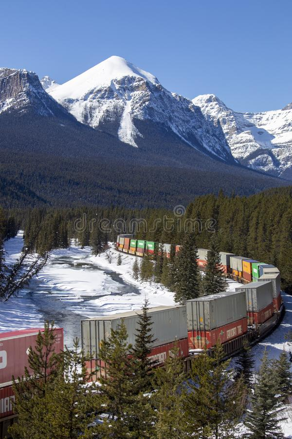 Lake Louise Rocky Mountains. Train Tracks Morants Curve Canada stock images