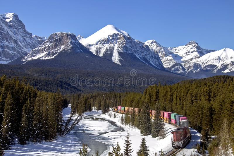 Lake Louise Rocky Mountains. Train Tracks Morants Curve Canada stock photography