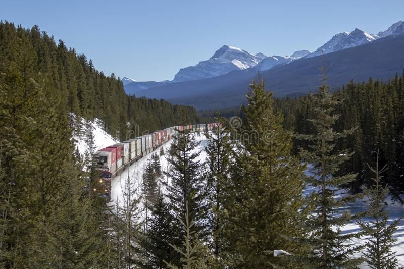 Lake Louise Rocky Mountains. Train Tracks Morants Curve Canada royalty free stock photos