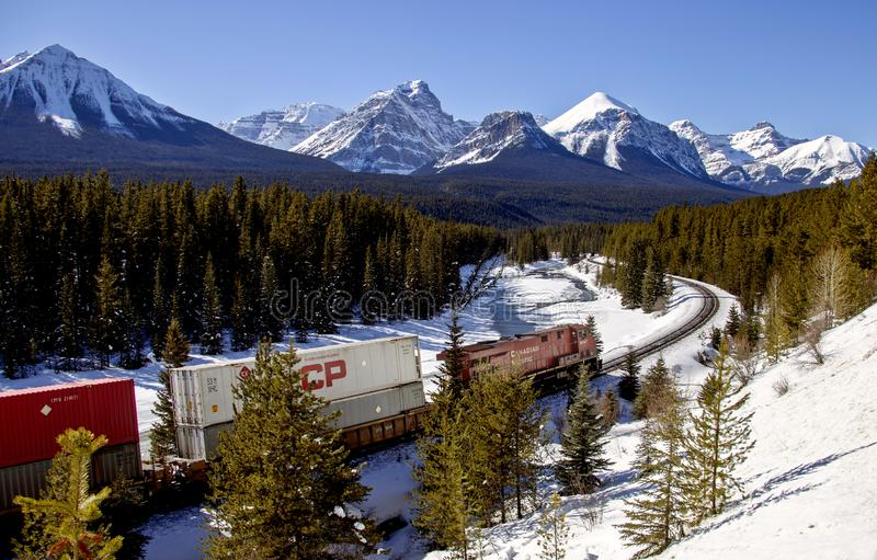 Lake Louise Rocky Mountains. Train Tracks Morants Curve Canada royalty free stock image