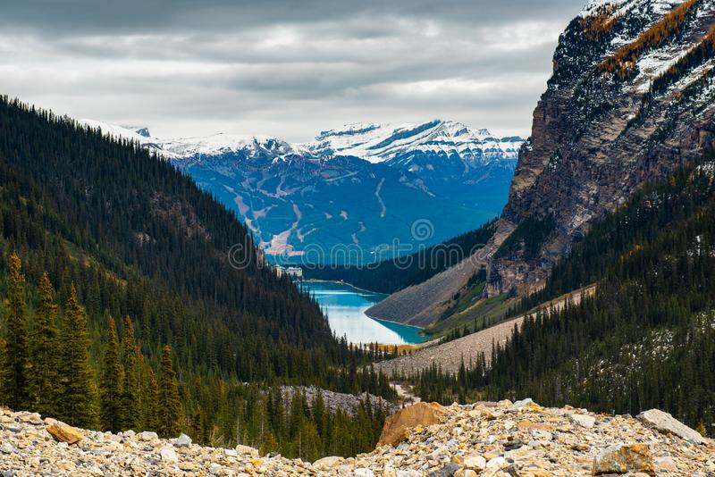 Lake Louise hiking in fall. Scenic Autumn views of the Lake Louise area and hiking PLAIN OF THE 6 GLACIERS in Banf National Park Alberta Canada royalty free stock photos