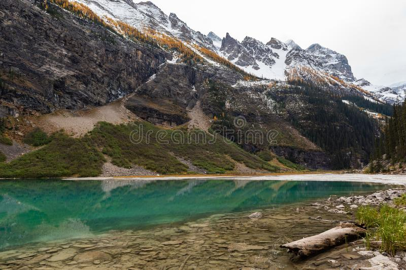 Lake Louise hiking in fall. Scenic Autumn views of the Lake Louise area and hiking PLAIN OF THE 6 GLACIERS in Banf National Park Alberta Canada stock image