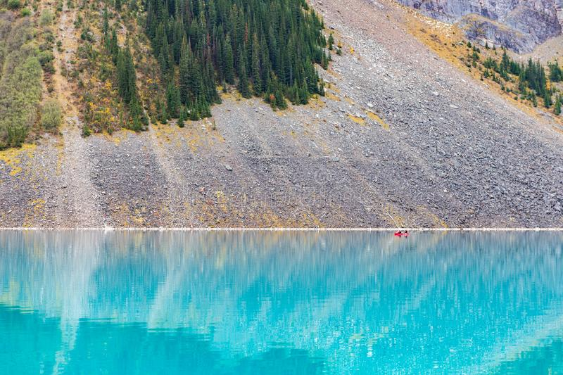 Lake Louise hiking in fall. Scenic Autumn views of the Lake Louise area and hiking PLAIN OF THE 6 GLACIERS in Banf National Park Alberta Canada royalty free stock images