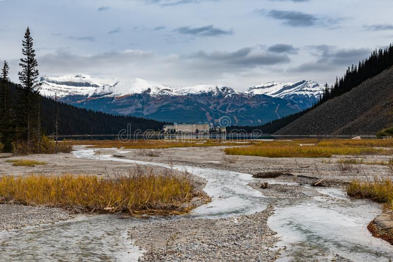 Lake Louise hiking in fall. Scenic Autumn views of the Lake Louise area and historic Chateau Lake Louise in Banf National Park Alberta Canada royalty free stock photos