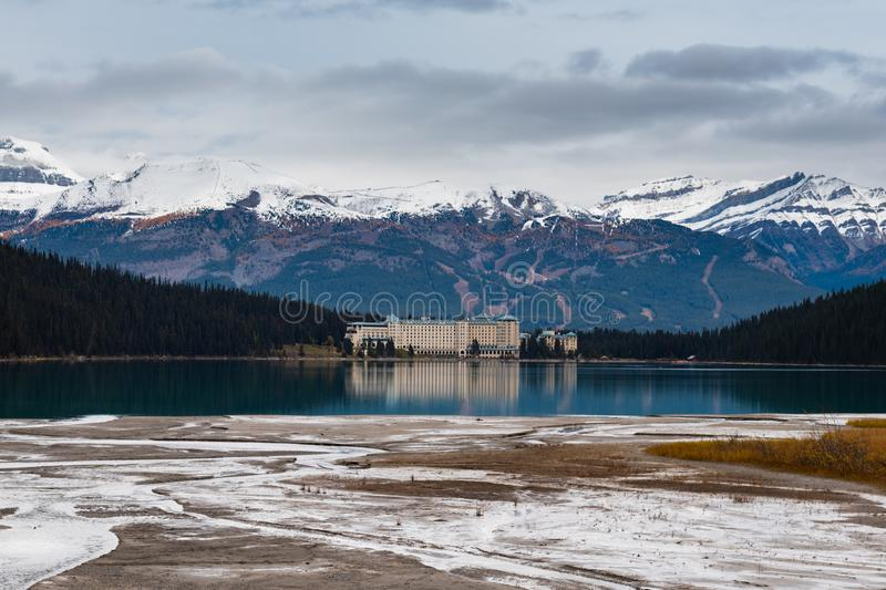Lake Louise hiking in fall. Scenic Autumn views of the Lake Louise area and historic Chateau Lake Louise in Banf National Park Alberta Canada royalty free stock images