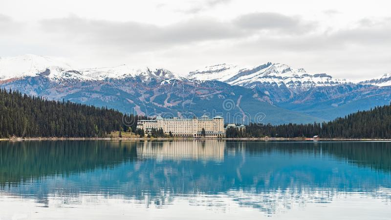 Lake Louise hiking in fall. Scenic Autumn views of the Lake Louise area and historic Chateau Lake Louise in Banf National Park Alberta Canada stock images