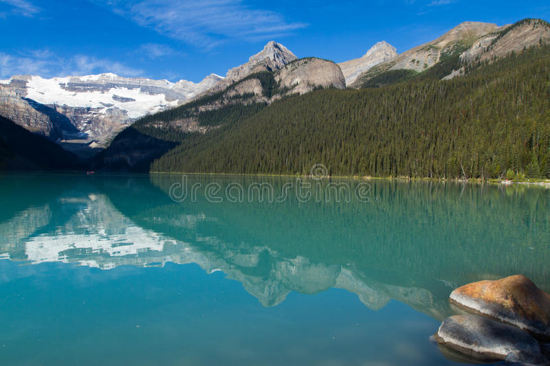 Lake Louise. Scenic landscape view of Lake Louise in Alberta, Canada in the late summer months royalty free stock images