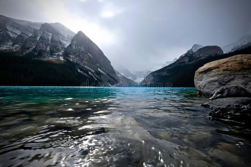 Lake Louise scenic view in autumn. Fall season on Lake Louise in Canadian Rocky Mountains. Banff National Park. Alberta. Canada stock image