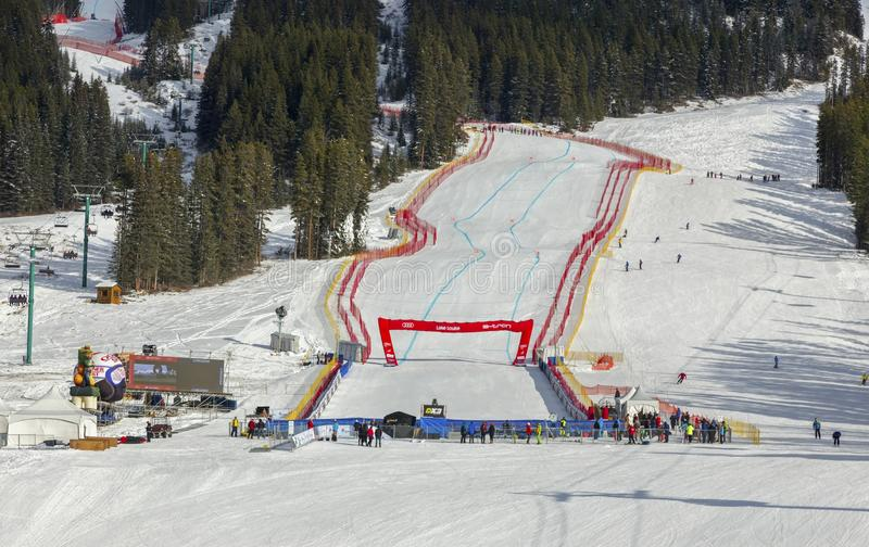 Lake Louise Ski Area Men Women FIS World Cup Downhill Skiing Alberta Canada royalty free stock photo
