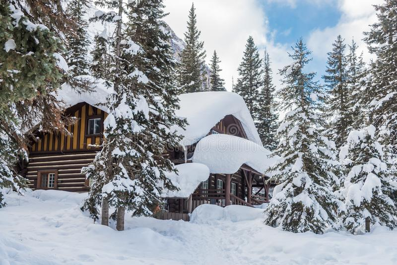 Lake Louise. Small house in snow, Lake Louise in Banff Park, Alberta, Canada stock photo