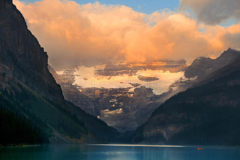 Lake Louise. At sunrise in Banff national park, Canada royalty free stock photos