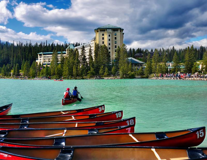 Canada, Banff National Park, Lake Louise. Lake Louise - Travel Resort, summer boating, scenic view. Canadian Rocky Mountains. Banff National Park, Canada royalty free stock images