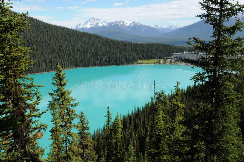 Lake Louise. Turquoise Waters of Lake Louise, Alberta, Canada from a mountain hiking trail stock images